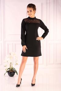 Black Formal Dress with Lace Neck