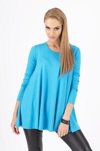 Lazur Blue Long Sleeves Oversized Loose Blouse