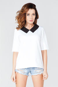 White Short Sleeves Contrasting Collar Blouse