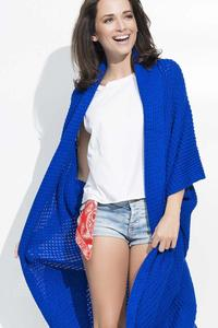 Blue Long Bat Sleeves Cape Cardigan