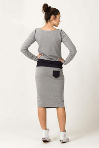 Light Grey and Dark Grey Fitted Sport Style Skirt