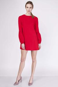 Red Mini Flared Dress with Long Sleeves