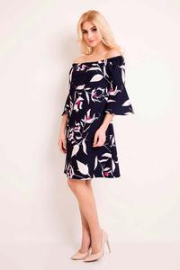Dark Blue Off Shoulders Floral Pattern Dress