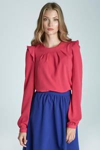 Fuchsia Soft Office Blouse with Frill at The Shoulders