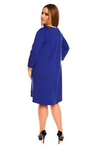 Blue 3/4 Sleeves Swing Dress PLUS SIZE