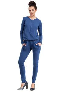 Blue Casual Snaps Closure Jumpsuit