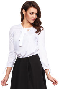 White Cut Out Bow tie Blouse with Long Sleeves