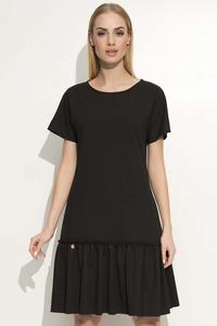 Black Loose Cut Dress with a Frill