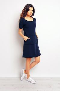Dark Blue Sport Style Dress with Pockets