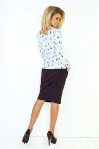 White Owl Pattern Shirt With Self Tie Bow