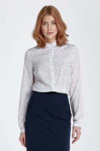 Meadow Pattern Long Sleeved Shirt with Round Collar