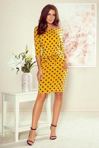 Mustard sports dress with drawstring at the waist