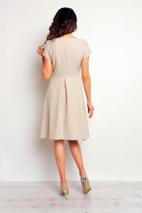 Beige Flared Designe Knee Length Dress