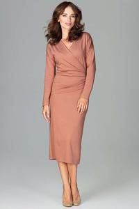Brown Wrap Front Pencil Dress