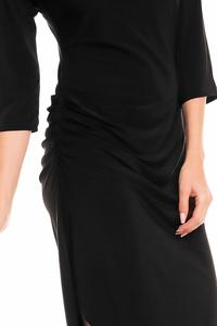 Black Asymetrical Wrinkled Dress