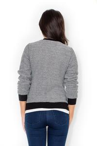 Grey Stylish Short Bomber Jacket with Black Cuffs