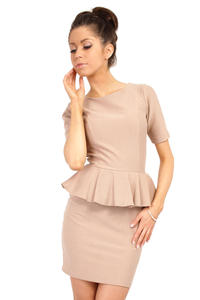 Cappuccino Bateau Neck Shift Dress with Frilled Bodice
