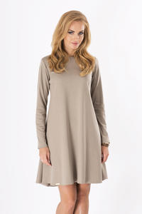 Cappuccino Plain Long Sleeves Dress