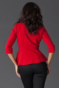 Red Frilled Hemline Blazer with Front Zipper Fastening