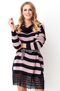 Long Striped Sweater with Lace