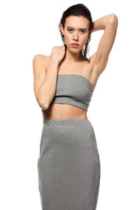 Grey Bandeau Tube Top with Elasticized Trim