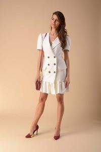 Dress with a Frill Fastened with Buttons - Ecru