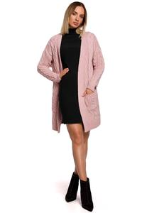 Long Sweater with Pockets  Hoodless (Pink)