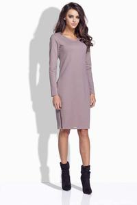 Cappuccino Simple Midi Dress with Zippers