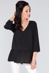 Black Romantic V-Neck Blouse with a Frill