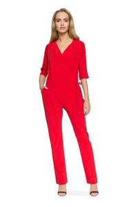 Red V-Neckline Jumpsuit