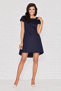 Dark Blue Morning Break Low Front Hem Dress