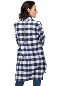 Navy Checkered Tunic Shirt with Decorative Back Zipper