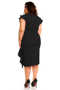 Black Elegant Prom Dress with Frill PLUS SIZE