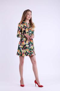 Floral A-line short dress with a bow at the neckline