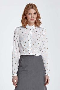 Leafs Pattern Long Sleeved Shirt with Round Collar