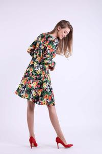 Floral Flared Dress with V-neck