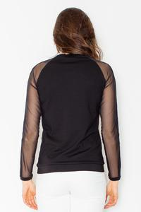 Black Transparent Long Sleeves Blouse