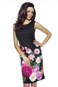 Black Pencil Dress with Roses Pattern