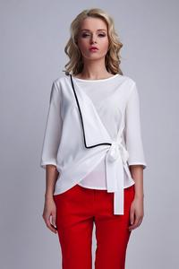 White Elegant Wrap Front with Self Tie Bow Blouse
