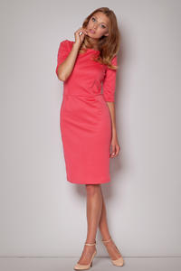 Elbow Sleeves Seam Shift Coral Dress