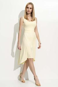 Yellow Round Neckline Asymetrical Dress