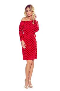 Red Dress with Black Polka Dots with a Neckline on the Back