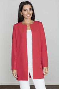 Red Round Neckline Open Ladies Blazer