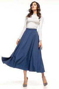 Dark Blue Flared High Waist Skirt