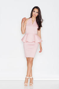 Pink Stylish Coctail Peplum Dress