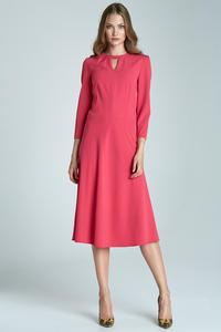 Fuchsia Elegant Office Style Dress with Cut Out Collar