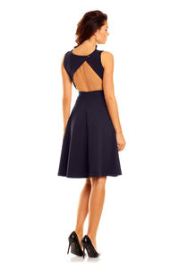 Dark Blue Cut Out Back Dress with Button Stud