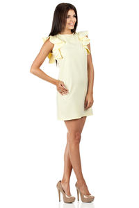 Yellow High Neck Shift Dress with Waterfall Shoulders