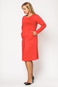Red Double Fold Knee Length Dress PLUS SIZE