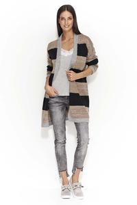 Gray-Black Long Striped Cardigan without a Fastener